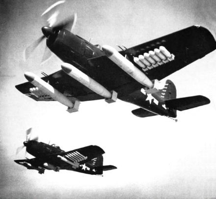 Two AM-1s during armament tests 30 March 1949; the aircraft closest to the camera is the one that set the unofficial payload record and is today preserved in the National Naval Aviation Museum - Martin AM Mauler