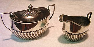 Holloware - Creamer and sugar bowl from ATSF service, made by Harrison & Howson for dining car service