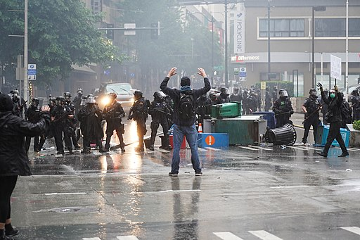 A Protester Standing In Front Of Police (49955094876)