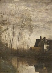 A River Scene with Houses and People Corot, San Diego Museum of Art.JPG