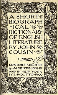 <i>A Short Biographical Dictionary of English Literature</i> collection of biographies of writers by John William Cousin