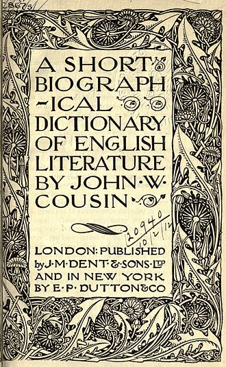 A Short Biographical Dictionary of English Literature - Title page