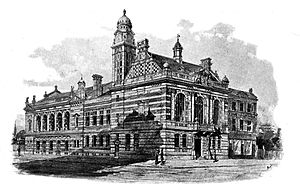 Rotherhithe - 1895 accepted design for Rotherhithe Town Hall, view from Neptune Street and Lower Road