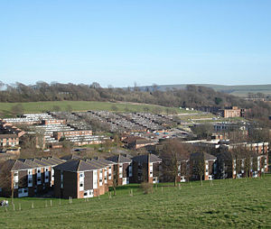 East Slope - A more recent photo, also showing the new pitched roofs on Park Village, and some newer campus housing just visible at the extreme left.