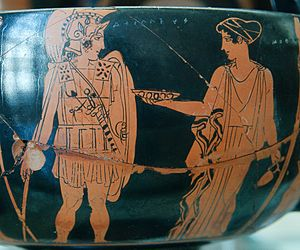 Achilles - Achilles and the Nereid Cymothoe, Attic red-figure kantharos from Volci (Cabinet des Médailles, Bibliothèque nationale, Paris)