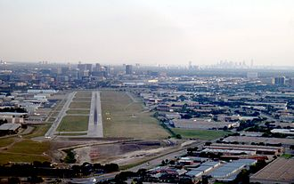 Addison Airport - Runway 15 with Dallas in the background