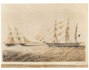 African Slave Trade Patrol - USS Perry confronting the slaver Martha off Ambiz in 1850.