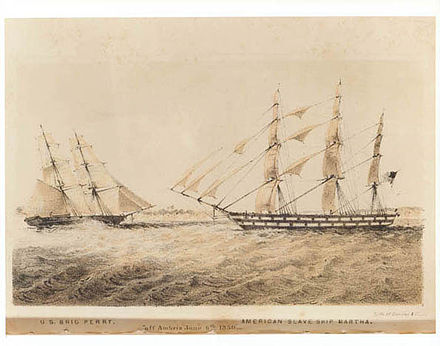 U.S. brig Perry confronting the slave ship Martha off Ambriz on June 6, 1850 Africa and the American Flag.jpg