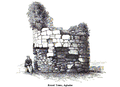Aghadoe cathedral round tower 1892.png