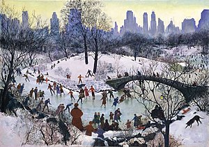 Public Works of Art Project - Agnes Tait, Skating in Central Park 1934