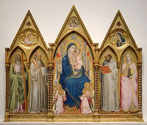 Agnolo Gaddi - Madonna Enthroned with Saints and Angels, by Agnolo Gaddi (1380/90)