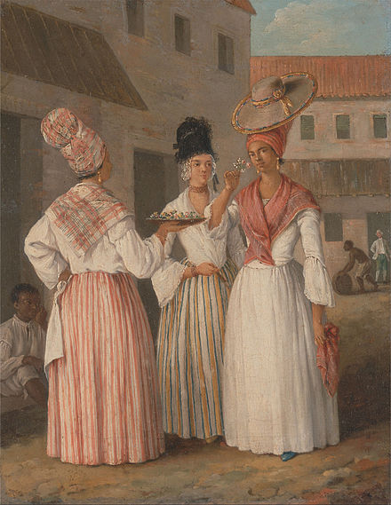 A West Indian Flower Girl and Two other Free Women of Color, Agostino Brunias, circa 1769. Agostino Brunias - A West Indian Flower Girl and Two other Free Women of Color - Google Art Project.jpg