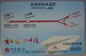 Airport Express, Beijing Subway - Image: Airport Line Beijing Subway card 02