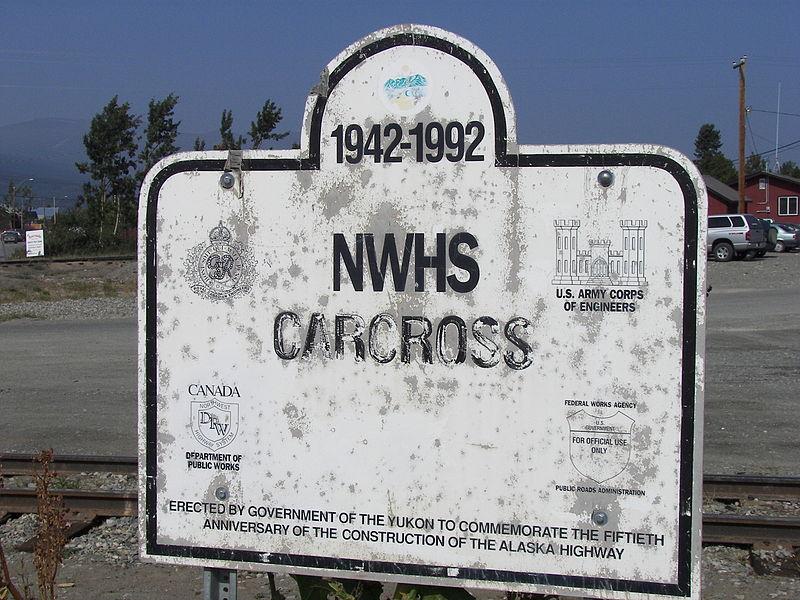 File:Alaska Highway 50th anniversary sign in Carcross, Yukon.jpg