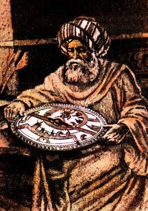 Al-Battani - A modern artist's impression of al-Battānī holding an astrolabe