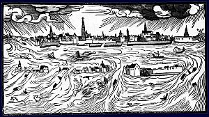 All Saints' Flood (1570) - Drawing by Hans Moser in 1570 of Scheldt flood