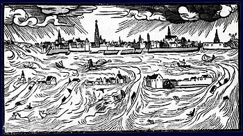 All Saints Flood 1570, contemporary leaflet by Hans Moser