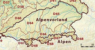 Alpine Foreland - Bavarian Alpine Foreland with towns, water features and ice-age deposits
