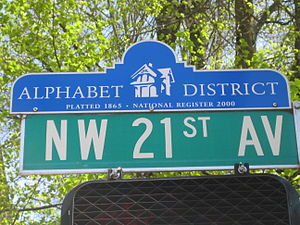 Northwest District, Portland, Oregon - Alphabet District street sign topper in Northwest Portland