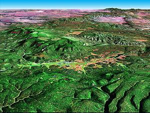 Alpine, Arizona - Alpine (center of image); Luna Lake, right center.  NASA perspective image created by joining Landsat 7 and Digital Elevation Model data.