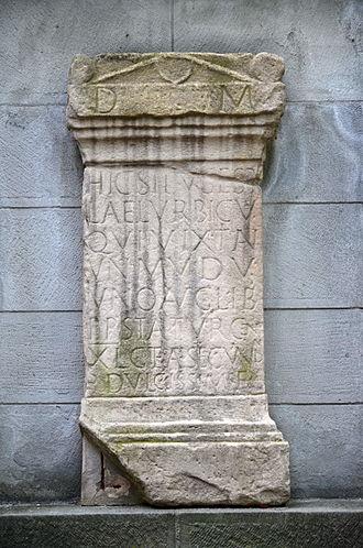 Turicum - Modern replica of the Roman gravestone along Pfalzgasse on Lindenhof hill in Zürich