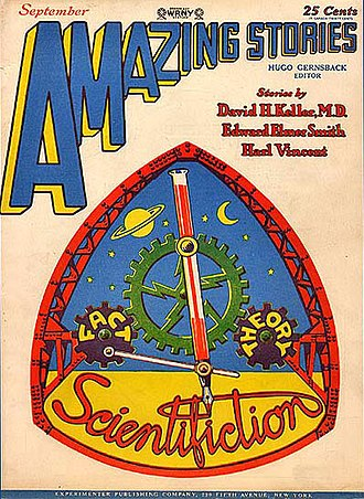 Amazing Stories - September 1928 issue. This sober design sold poorly and Gernsback returned to lurid action covers.