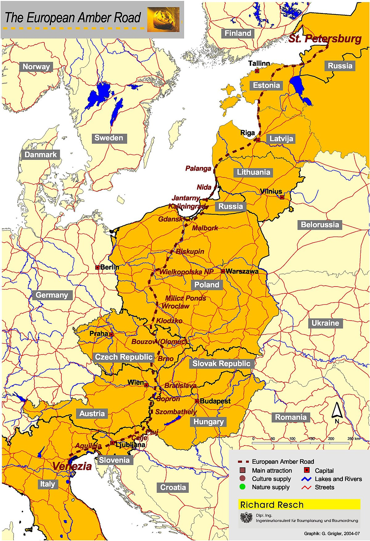Amber Road Wikipedia – Map of Northern Europe with Capitals