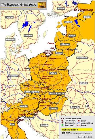 Amber Road - The Amber Road (east route), as hypothesized by Polish historian Jerzy Wielowiejski, Główny szlak bursztynowy w czasach Cesarstwa Rzymskiego (Main Route of the Amber Road of the Roman Empire), 1980