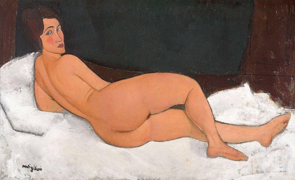 Амедео  Модильяни «Лежащая обнажённая (на левом боку)», 1917 году / AMEDEO MODIGLIANI, NU COUCHÉ (SUR LE CÔTÉ GAUCHE), 1917 / Продано на аукционе Сотбис в Нью-Йорке в мае 2018 г
