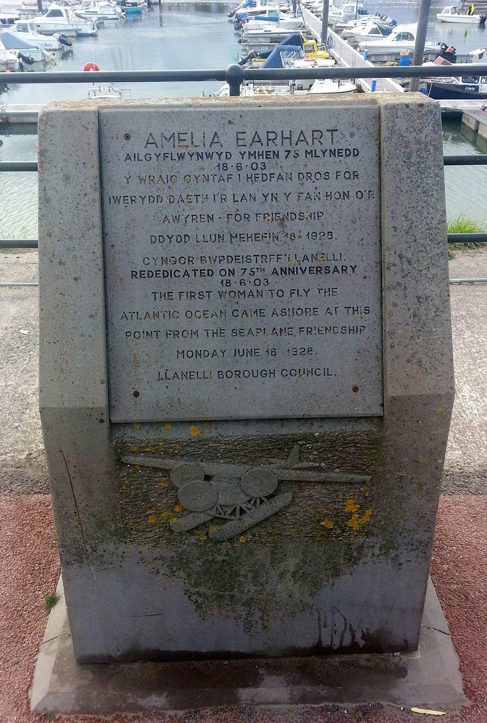 Amelia Earhart Commemoration Stone - Burry Port