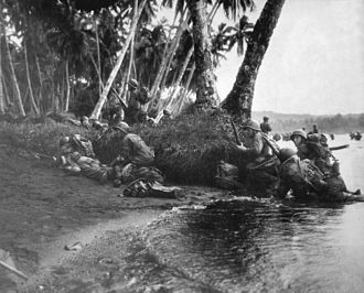43rd Infantry Division (United States) - 43rd ID soldiers landing on Rendova Island in the Solomon Islands, 30 June 1943.