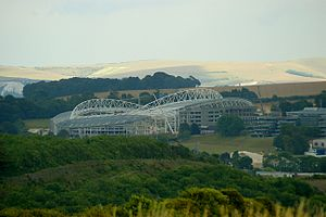 Area of Outstanding Natural Beauty - Falmer stadium under construction in 2010 in the former Sussex Downs AONB