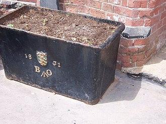 Board of Ordnance - Ammunition box with Board of Ordnance shield, initials and broad arrow.