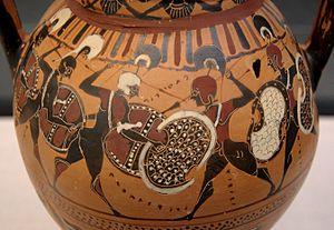 Hoplite - Phalanx fighting on a black-figure amphora, c. 560 BC