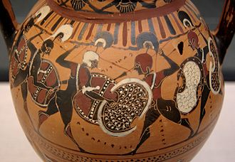 Hoplite - Phalanx fighting on a black-figure amphora, c. 560 BC. The hoplite phalanx is a frequent subject in ancient Greek art