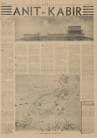 Anıtkabir - Paul Bonatz's article about the Anıtkabir project, including the rendering and site plan