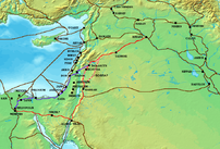 The :en:Via Maris (purple), King's Highway (in red), and other ancient :en:Levantine :en:trade routes, c. :en:1300 BCE