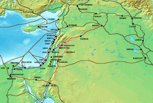 The Via Maris (purple), King's Highway (red), and other ancient Levantine trade routes, c. 1300 BC