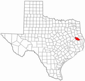 National Register of Historic Places listings in Angelina County, Texas - Location of Angelina County in Texas