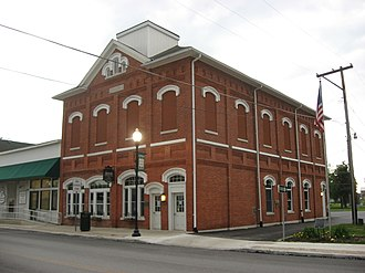 National Register of Historic Places listings in Shelby County, Ohio - Image: Anna Town Hall angle