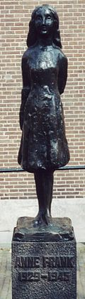 Statue of Anne Frank, by Mari Andriessen, outside the Westerkerk in Amsterdam.