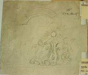 Sketch of an acanthus motif flanked by two cherubs