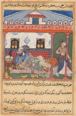 Page from Tales of a Parrot (Tuti-nama): Forty-third night: The snake, hidden in a basket of flowers, reveals himself to the Raja who has just sent away his wife