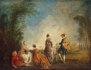 Embarrassment - An embarrassing proposal by Antoine Watteau