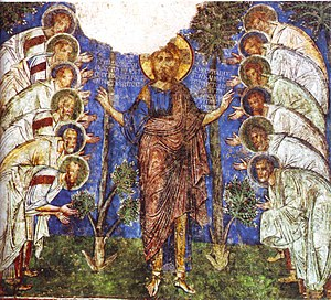 Cappadocian Greeks - Medieval Byzantine fresco in a Cappadocian rock-cut church at Göreme depicting Jesus Christ with the twelve apostles.