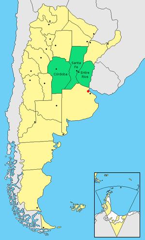 Center Region, Argentina - Map of the Center Region (in green)