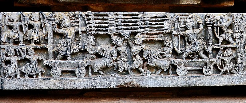 File:Arjuna Karna final battle, Kurukshetra war, 12th-century Mahabharata relief, Hoysalesvara temple Halebidu.jpg