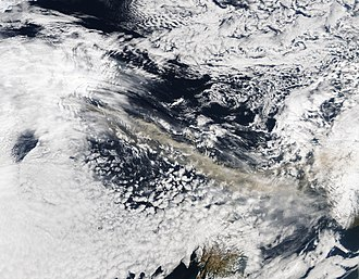 2010 eruptions of Eyjafjallajökull - Photograph from satellite Aqua showing the ash plume over North Atlantic at 13:30 GMT on 15 April