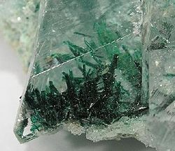 Atacamite needles enclosed in clear Gypsum, Lily Mine