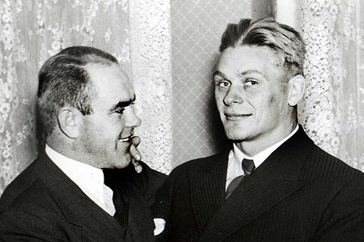 Estonians August Neo (left) and Kristjan Palusalu won medals in both wrestling styles at the 1936 Olympics August Neo and Kristjan Palusalu.jpg